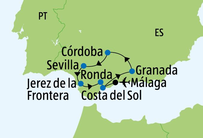 Andalusien Karte Flughäfen.Andalusien Rundreise Aldi Suisse Tours